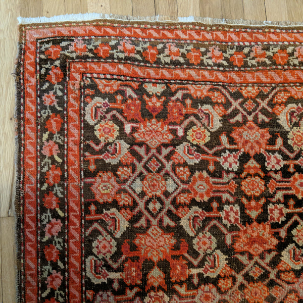 Antique Rug, 3' 8 x 5' 5 Brown Caucasian