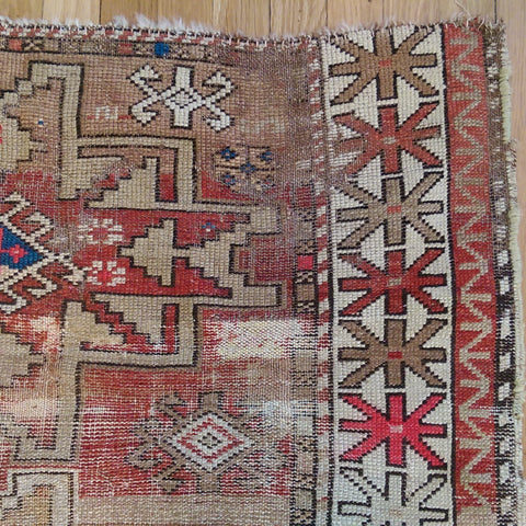 Antique Rug, 3' 7 x 4' 6 Brown Caucasian