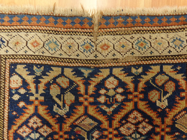 Antique Caucasian Rug, 3' 1 x 6' 5 Blue Kuba