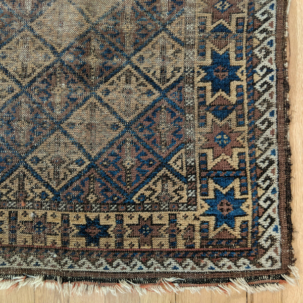 Antique Rug, 2' 11 x 4' 9 Blue - Jessie's Oriental Rugs