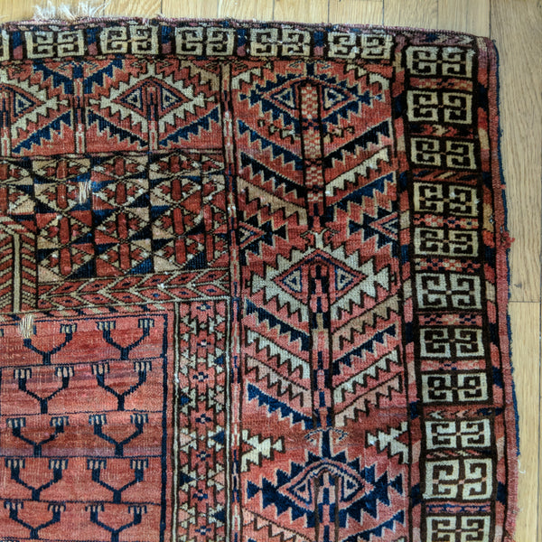 Antique Rug, 4' 1 x 4' 10 Red Turkoman - Jessie's Oriental Rugs