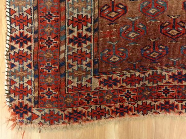 Antique Rug, 4' 7 x 4' 11 Brown Turkoman - Jessie's Oriental Rugs