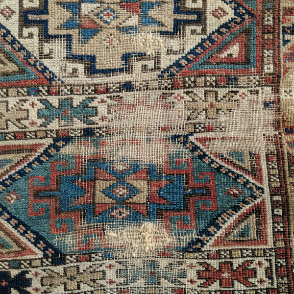 Antique Rug, 3' 3 x 4' 5 Red Caucasian - Jessie's Oriental Rugs
