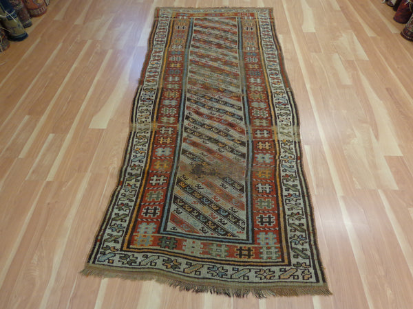 Antique Persian Rug Runner, 3' 6 x 8' 2 Ivory Kurdistan