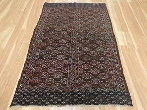 Antique Rug, 3' 11 x 5' 11 Brown Turkoman