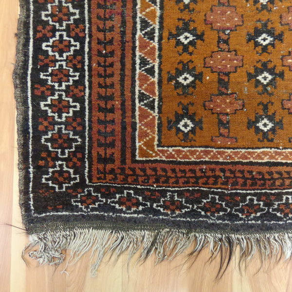 Antique Tribal Rug, 3' 7 x 6' 3 Rust Brown Baluch
