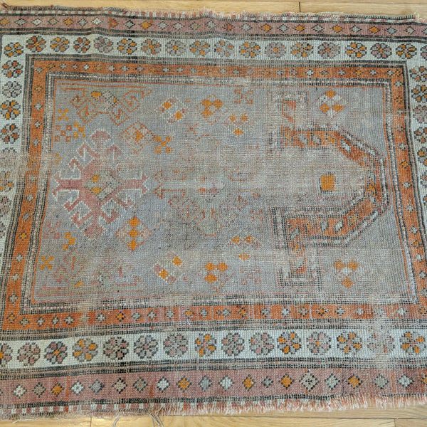 Antique Rug, 3' 3 x 3' 10 Turkish Prayer - Jessie's Oriental Rugs