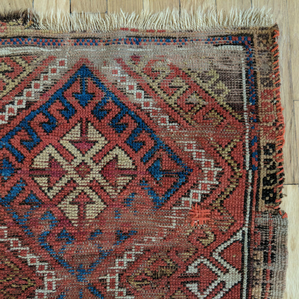 Antique Rug, 2' 2 x 3' 3 Red Turkish - Jessie's Oriental Rugs