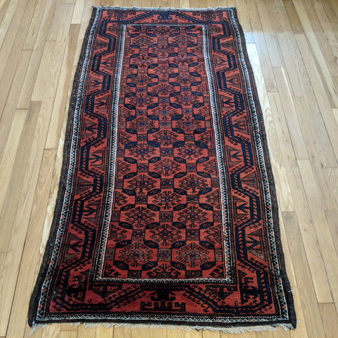Antique Rug, 3' 1 x 6' Red Baluch