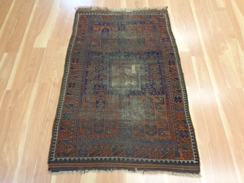 Antique Rug, 2' 10 x 4' 6 Blue Baluch