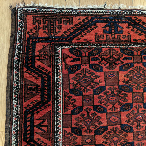 Antique Rug, 3' 1 x 6' Red Baluch - Jessie's Oriental Rugs