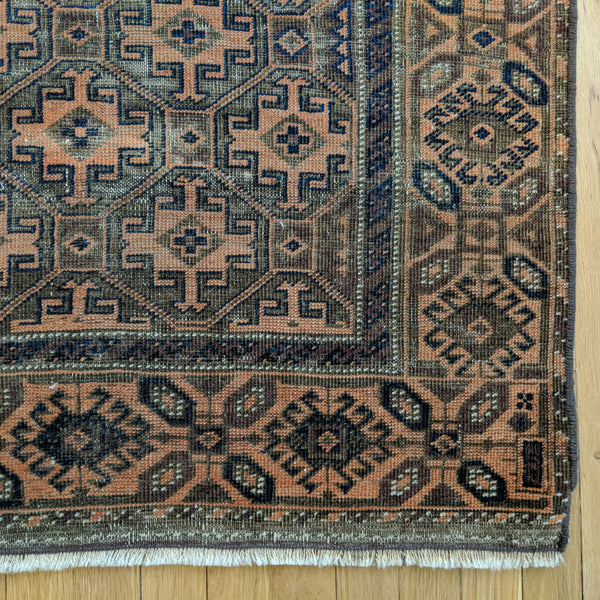 Antique Rug, 3' 1 x 5' Brown Baluch - Jessie's Oriental Rugs