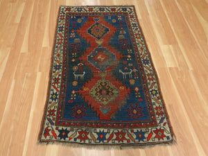Antique Caucasian Rug, 3' 3 x 5' 5 Blue Kazak