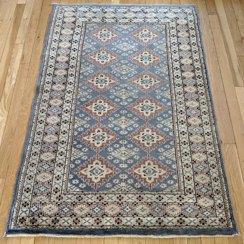 Pakistan Rug, 3' 2 x 4' 9 Light Blue Bokhara - Jessie's Oriental Rugs