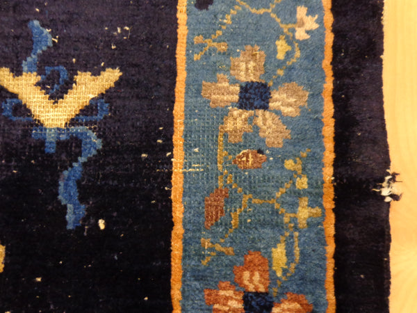 Chinese Rug, 3' 1 x 4' 10 Dark Blue Vintage