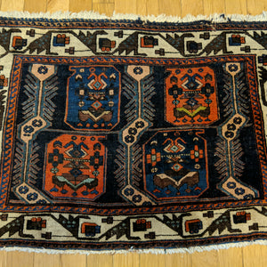 Vintage Rug, 2' 9 x 1' 11 Blue Tribal