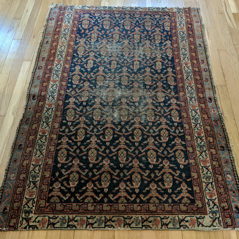 Antique Rug, 3' 9 x 5' 4 Blue - Jessie's Oriental Rugs