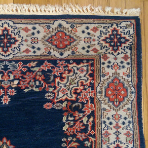 Vintage Rug, 3' 2 x 5' Blue Indian Jaipur