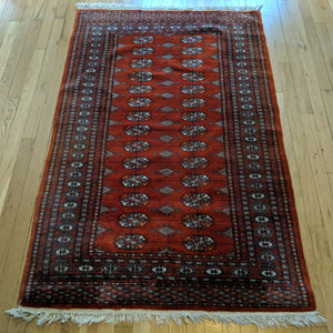 Pakistan Rug, 3' 4 x 5' 4 Red Orange Bokhara