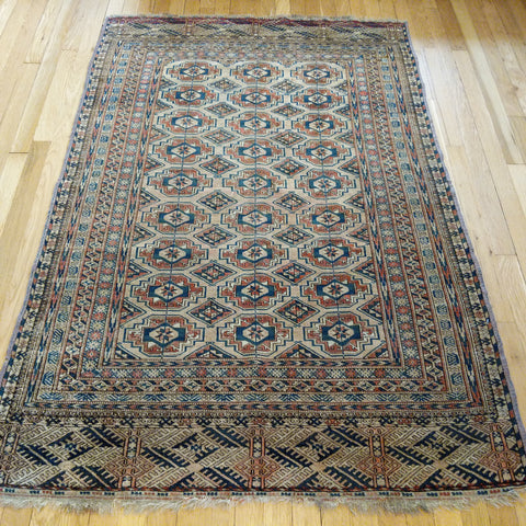 Antique Rug, 3' 11 x 5' 10 Turkoman Bokhara