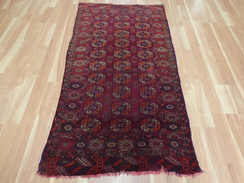 Turkoman Rug, 3' 6 x 6' 6 Red Bokhara