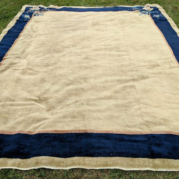 Vintage Rug, 9' 3 x 11' 7 Light Gold Chinese - Jessie's Oriental Rugs