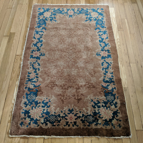 Chinese Rug, 3' x 4' 11 Brown Art Deco