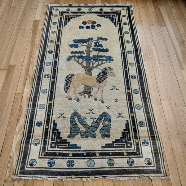 Chinese Rug, 3' 1 x 6' Cream Pictorial - Jessie's Oriental Rugs