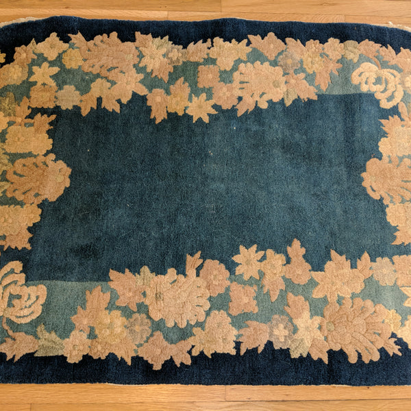 Chinese Rug, 3' 1 x 5' 5 Blue Peking