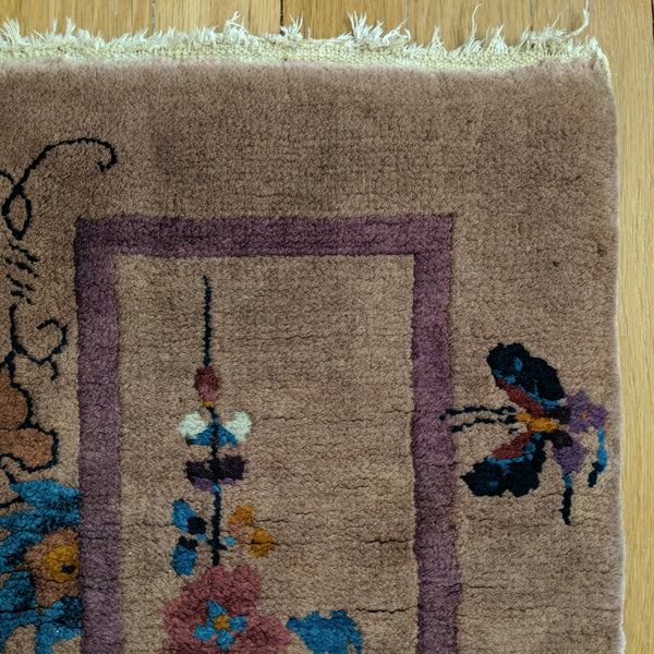 Chinese Rug, 1' 1 x 3' Purple Grey Art Deco - Jessie's Oriental Rugs