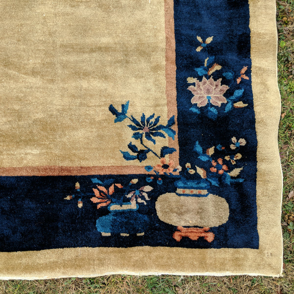 Vintage Rug, 9' 3 x 11' 7 Light Gold Chinese