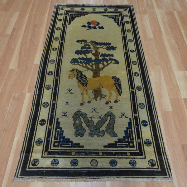 Chinese Rug, 3' 1 x 6' 1 Cream Pictorial - Jessie's Oriental Rugs