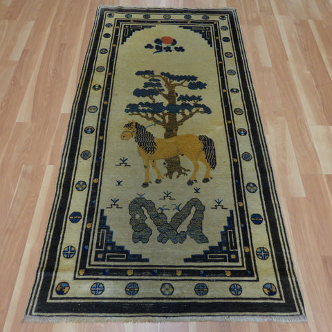 Chinese Rug, 3' 1 x 6' 1 Cream Pictorial
