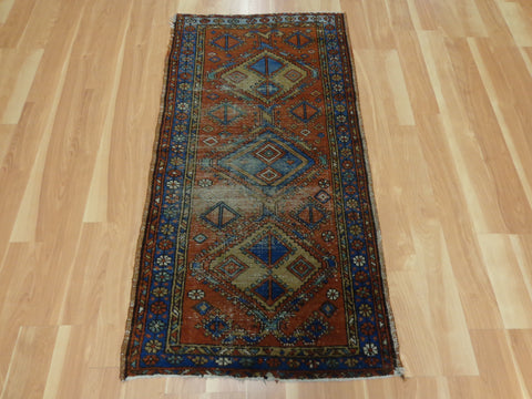 Antique Persian Rug, 2' 5 x 4' 9 Orange Brown Heriz