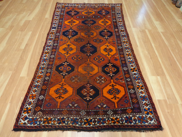 Persian Rug, 4' 2 x 7' 9 Red Brown Shiraz - Jessie's Oriental Rugs