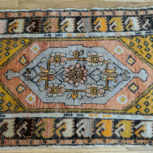 Turkish Rug, 2' 9 x 4' 4 Soft Red Tribal - Jessie's Oriental Rugs