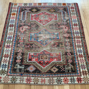 Vintage Rug, 3' 8 x 4' Brown Tribal
