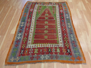 Antique Turkish Rug, 4' 5 x 6' Red Kilim