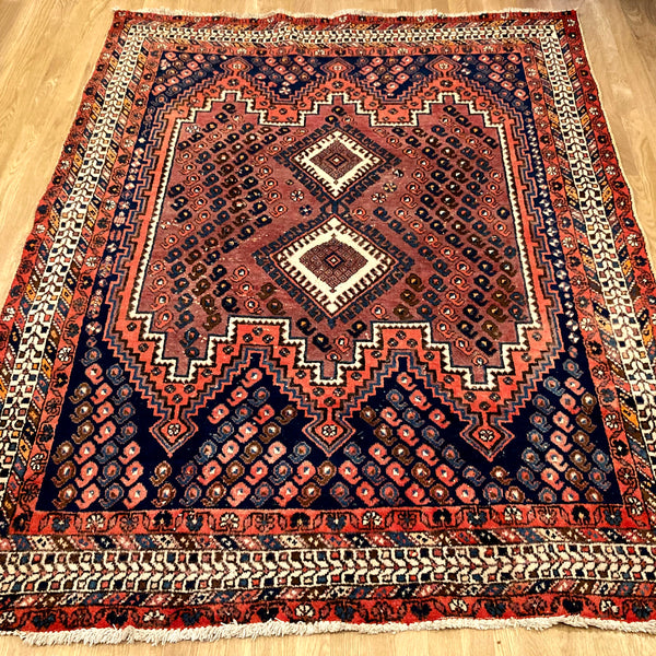 Vintage Rug, 5' 1 x 6' 4 Blue Tribal