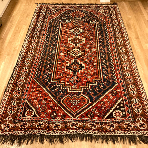 Vintage Rug, 5' x 8' 4 Red Tribal