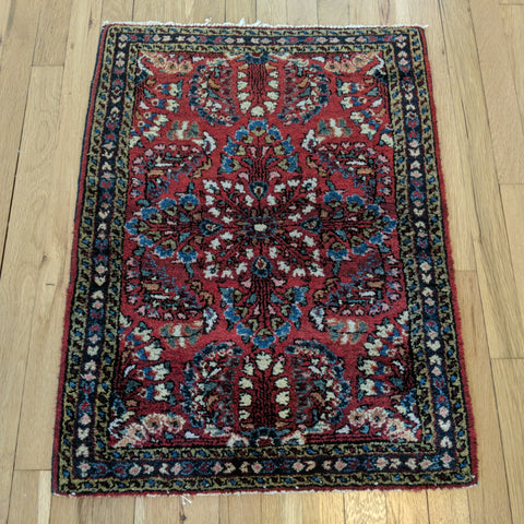 Vintage Rug, 2' x 2' 8 Red Purple