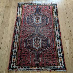 Vintage Rug, 2' 7 x 4' 1 Red Tribal