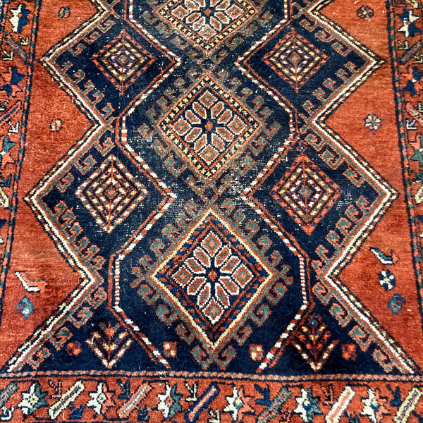 Vintage Rug, 4' x 5' 11 Blue Tribal