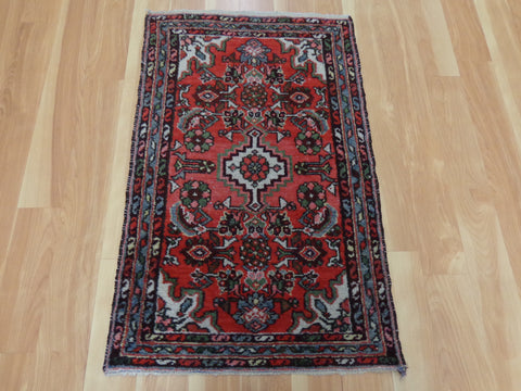 Persian Rug, 1' 11 x 3' 2 Red Hamedan
