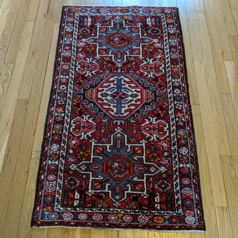 Vintage Rug, 2' 5 x 4' 4 Red Tribal