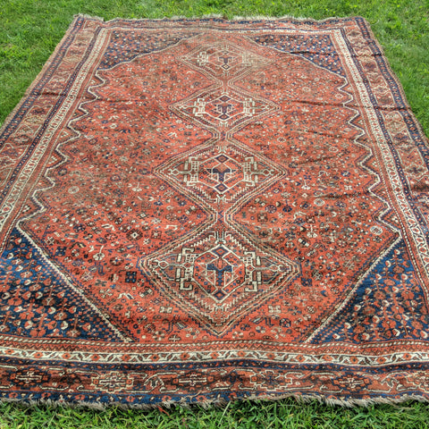 Vintage Rug, 7' 1 x 9' 10 Red Orange Tribal - Jessie's Oriental Rugs