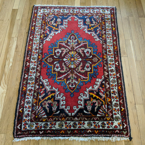Persian Rug, 2' 10 x 4' 3 Red Hamedan