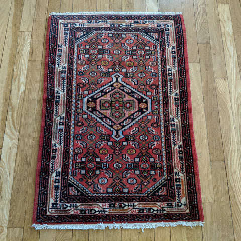 Persian Rug, 2' 1 x 3' 1 Red Hamedan