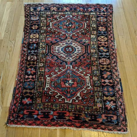 Vintage Rug, 3' 2 x 4' 3 Red Tribal