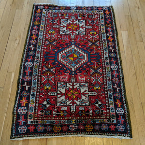 Vintage Rug, 2' 8 x 4' Red Tribal